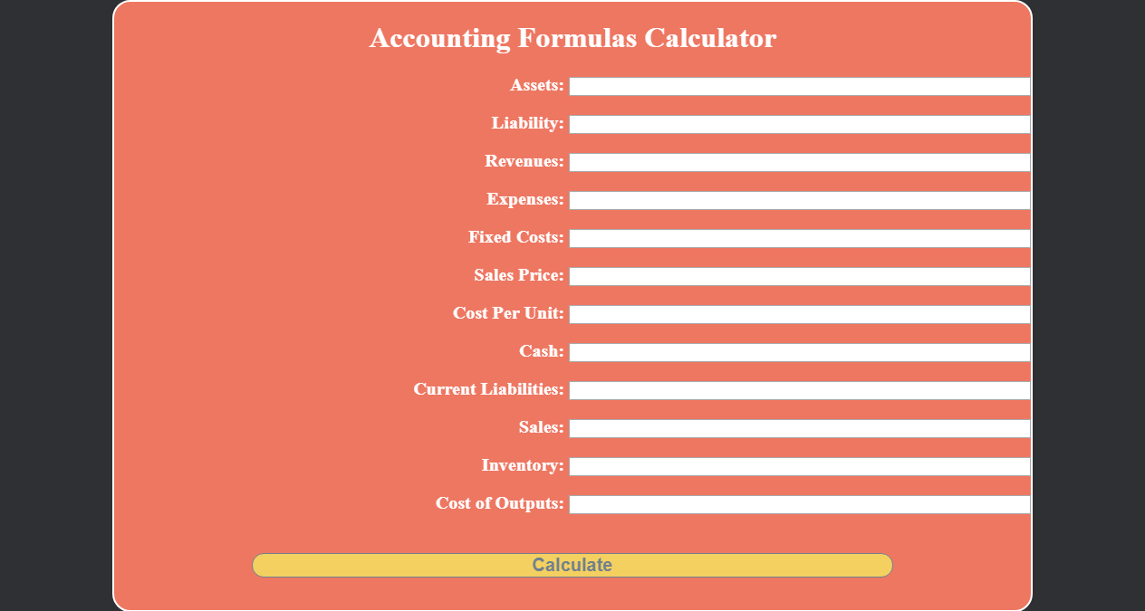 Basic Accounting Formulas Calculator in JavaScript Classes